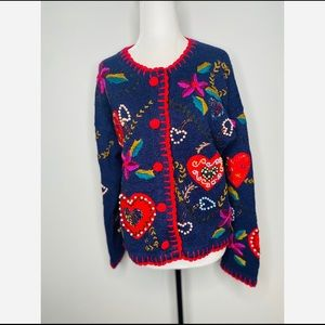 Vintage Cottagecore embroidered heart love sweater